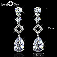 Noble Wedding  Sparkling CZ Stone Rhodium Plated Jewelry Charming Lady Drop Earrings For Women