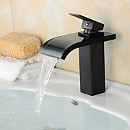 Fashion Oil-rubbed Bronze One Hole Single Handle Waterfall Bathroom Sink Faucet with Glass Spout-Black