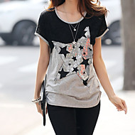 Women's Geometric Silver T-shirt , Round Neck Short Sleeve