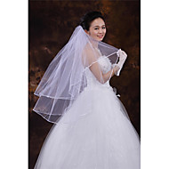 Wedding Veil Two-tier Fingertip Veils Ribbon Edge