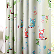 Kids Room Cartoon Owl Abstract Style Print Blackout Curtains Drapes Two Panels