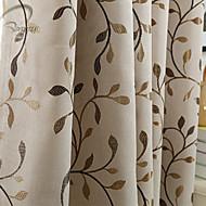 Et panel Vindue Behandling Moderne Neoklassisk Europæisk Designer Rustik , Blad Soveværelse Polyester Materiale Mørklægningsgardin forhæng