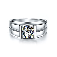 Durable Man Jewelry 1CT Solitaire Engagement 925 Ring SONA Diamond Solid Silver for Male Platinum Plated Pt950 Engraved