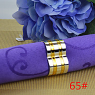 6pcs cuivre 25mm deux ronds de serviette en forme de coeur d'or