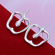 Sweet Apple Shape Silver Plated Foreign Trade Earring Studs(Silver)(1Pair)