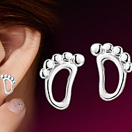 Women's 925 Sterling Silver Footprint Stud Earrings