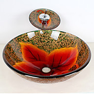 Colourful Round Tempered Glass Vessel Sink with Waterfall Faucet ,Pop - Up Drain and Mounting Ring