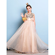 Floor-length Organza / Sequined Junior Bridesmaid Dress - Champagne A-line Jewel