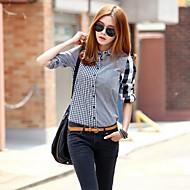 Women's Shirt , Cotton Blends Long Sleeve