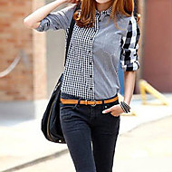Women's Asymmetric Spell Color Plaids Shirts