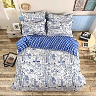 Mingjie® Travel round the world Blue Queen and Twin Size Sanding Bedding Sets 4pcs for Boys and Girls China