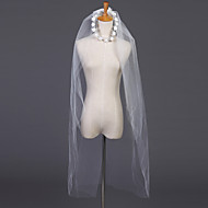 웨딩 면사포 두층 팔꿈치 베일 / 장식된 베일 컷 가장자리 39.37 in (100cm) 명주그물 화이트 / 아이보리