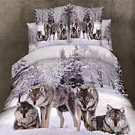 3D (Zufallsmuster) Baumwolle 4 Stück Bettbezug-Sets