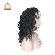 """10 """"26"""" glueless Spitzefrontseitenperücke der natürlichen Welle peruanische reine Haarfarbe natürliche schwarze Babyhaar für schwarze"""