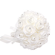 Satin Foam Rose Flower Wedding Bouquet with Rhinestone(28*21*21cm)