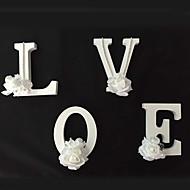 decoración de la boda el 26 de madera autoportante de madera letras del alfabeto de flores blanco Decoraciones del partido de casa
