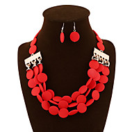 NEW  Style Women's Clothing Accessories Handwork Circle Modelling Resin Wedding/Party Jewelry Set (Necklace+Earrings)