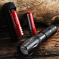 e17 CREE XM-L T6 2000 lm hohe Leistung Zoomable-LED-Taschenlampe Taschenlampe (1x18650) + 2 * Batterie + Ladegerät