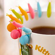 silikonové hlemýžď styl řetězec závěs klip pro čajový sáček (náhodné barvy, 10-pack)