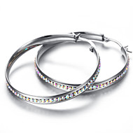 Stainless Steel Clear Crystal Earrings Set, 2pcs, Silver, KE892