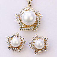 Cotton Tree Fashion European With Star Style Gift For Mother Alloy Rhinestone Pearl Wedding Party Earring&Necklace Set