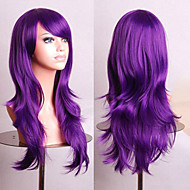 Cosplay Synthetic Wigs 70CM Purple High Temperature Wire Natural Curly Wig