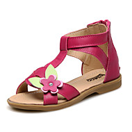 Girl's Sandals Summer Comfort Slingback Leather Outdoor Athletic Casual Flat Heel Applique Zipper Flower Red