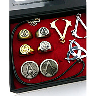 Assassin's Creed Alloy Emblem Ring Necklace Set