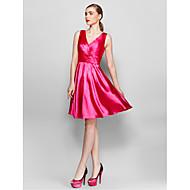 Cocktail Party Dress - Fuchsia A-line V-neck Knee-length Charmeuse