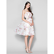 Lanting Bride Knee-length Chiffon Bridesmaid Dress A-line Strapless Plus Size / Petite with Draping / Ruching