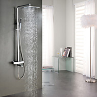 Contemporary Chrome Brass Thermostatic Shower Faucet with 304 Stainless Steel Shower Head