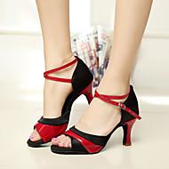 Chaussures de danse (Rouge/Argent/Or) - Personnalisable - Talons personnalisés - Satin - Danse latine/Salsa