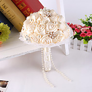 Ribbon Rose Flower With Lace Bride Bridal Wedding Bouquets Accessaries Party Decor for Wedding