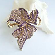 Women Accessories Gold-tone Purple Rhinestone Crystal Bowknot Brooch Art Deco Crystal Sash Brooch Women Jewelry