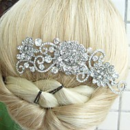 Wedding Silver-tone Clear Rhinestone Crystal Flower Hair Comb Bridal Headpiece Wedding Hair Comb