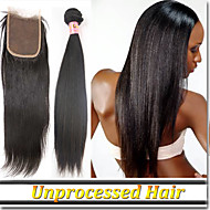 """4Pcs/Lot 8""""-30""""Hair Weave And Closure Remy Indian Human Hair Straight"""