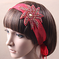 Women Satin Headbands/Flowers With Rhinestone Wedding/Party Headpiece Red/White/Blue/Green