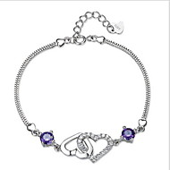 Women's Silver Chain With Purple Rhinestone Bracelet