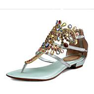 Leather female 2015 summer sandals leather diamond flat pinch herringbone Bohemia new soft bottom n705