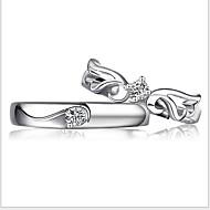 İfadeli Yüzükler Som Gümüş Ayarlanabilir Ekran Rengi Mücevher Düğün Parti 1pc