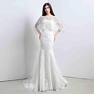 Trumpet / Mermaid Wedding Dress Two-In-One Wedding Dresses / Wedding Dresses With Wrap Sweep / Brush Train Sweetheart Lace with