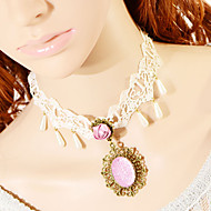 Fashion Pink Gem Drip Pearl Necklace
