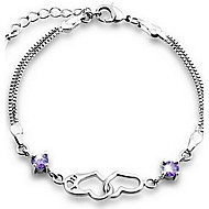 925 sterling silver Women's Double Heart Print bracelet