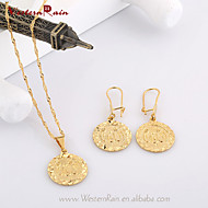 WesternRain Brass Stamped Jewelry 24K Gold Plated Pendant Necklace Earrings Set With Carving Coin Shape Women Jewelry