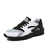 Running Shoes Men's Spring / Summer / Fall / Winter Round Toe Tulle / Fabric Athletic Flat Heel Lace-up Black / White Walking