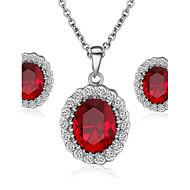 Smykke Sett Krystall Imitasjon Diamant Fødselsstein Krystall Kubisk Zirkonium imitasjon Diamond Legering Halskjeder Øreringer TilBryllup
