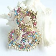 Women Accessories Gold-tone Multicolor Rhinestone Crystal Dragon Brooch Art Deco Crystal Brooch Pin