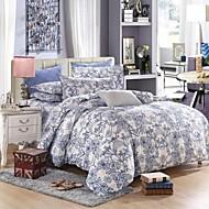 blauwe bloemen beddengoed set van 4 stuks koningin / twin