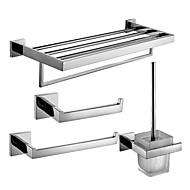 Stainless Steel Bath Hardware Set with Towel Shelf with Bar Towel Ring Toilet Paper Holder and Toilet Brush Holder