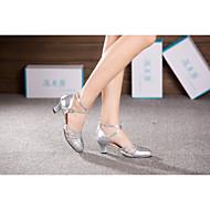 Niet Aanpasbare - Voor dames - Dance Schoenen ( Zwart/Zilver/Goud ) - met Cubaanse hak - en Buikdansen/Latijn/Samba